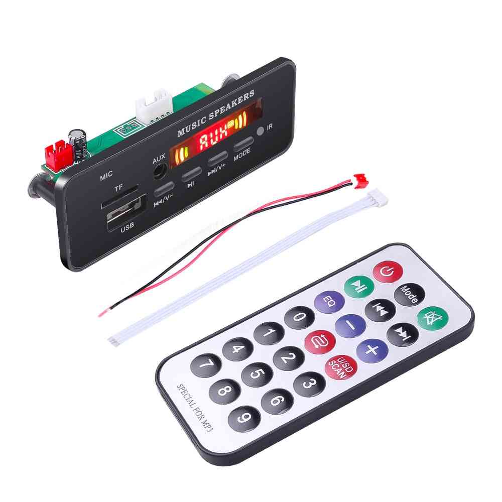 Wireless Mp3 Wma Decoder Board Remote Control Player - 12v Bluetooth 5.0 Usb Fm Aux Tf Sd Card Module Car Radio Mp3 Speaker (other)