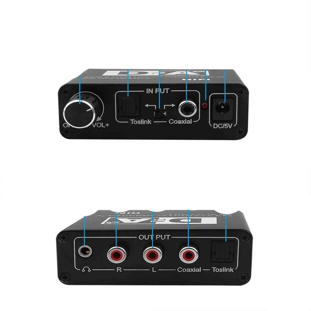24 Bit Digital To Analog Converter, 3.5 Jack Rca Dac Spdif Amplifier