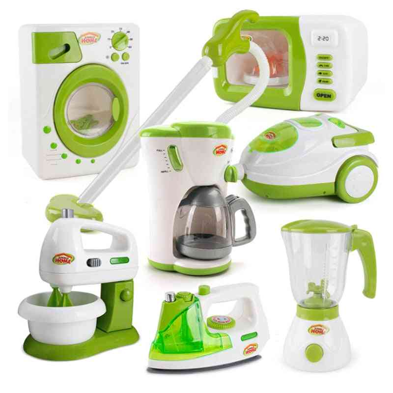 7 Types 1 Set Pretend Play Housekeeping- Simulation Vacuum Cleaner Cleaning Juicer Washing Sewing Machine Mini Clean Up Toy