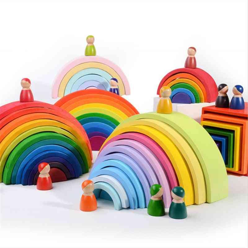 Montessori Educational Wooden For Kids- Geometry Rainbow Blocks