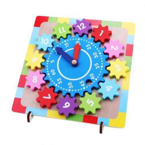 Wooden Gear Block Digital Clock Puzzle For Kids Educational