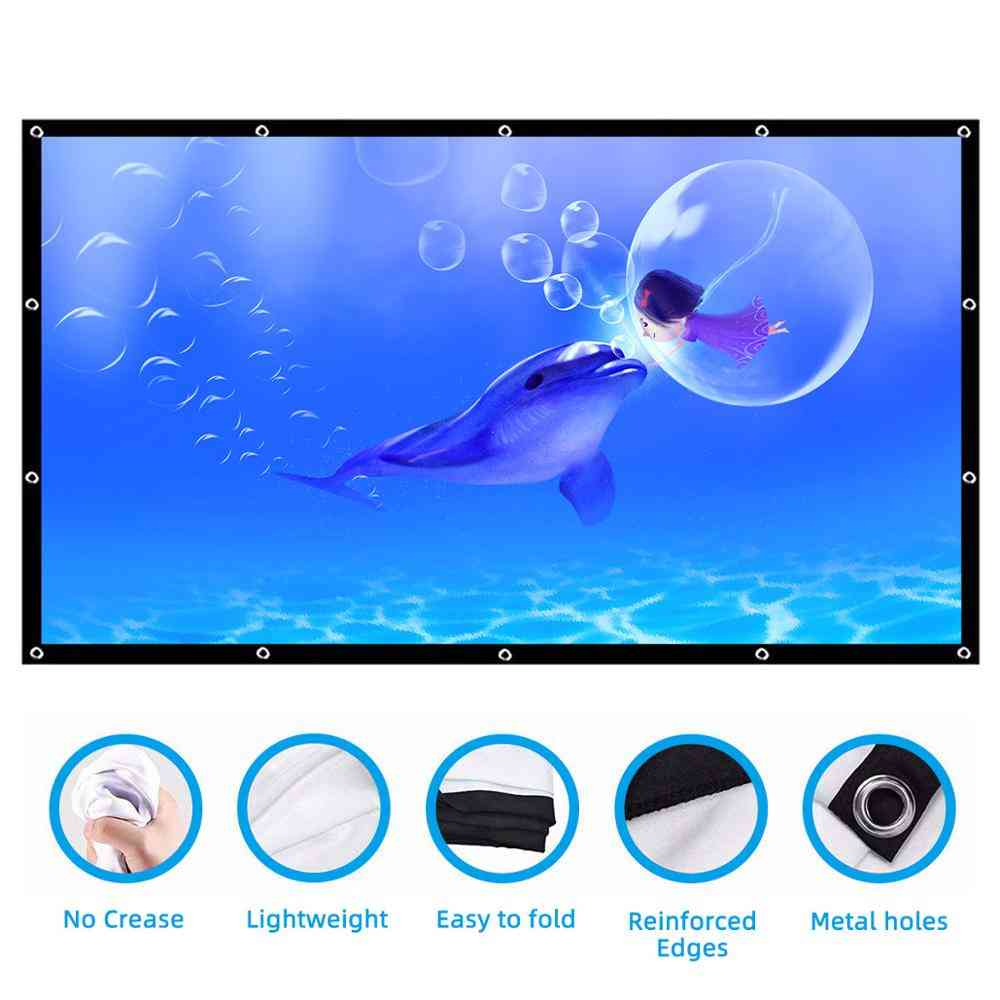Screen Portable Hd Foldable Projector For Home, Theater, Outdoor, Indoor - Double Side Projection Screen Polyester