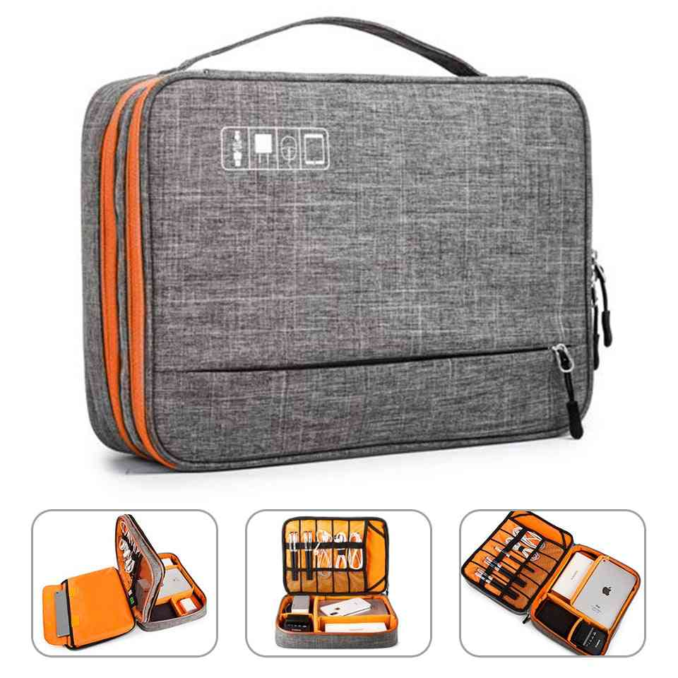 Double Layer Electronic Accessories Storage Bag - Separate Room&detach Strips, Portable Organizer Case