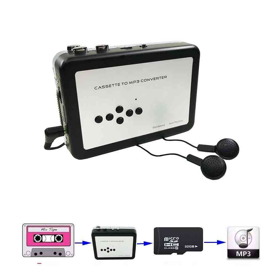 Cassette Player - Portable Standalone Tape For Mp3 Converter Tf Card With Earphones