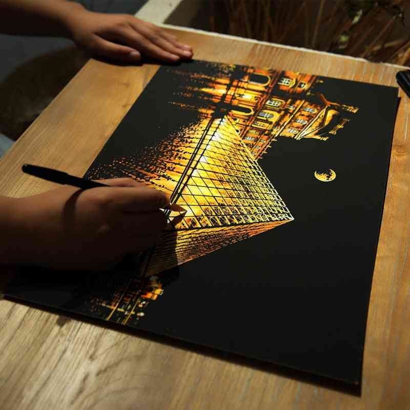 Magic Scratch Art Crafts World City, Scraping, Paintings And Decorative Paper For