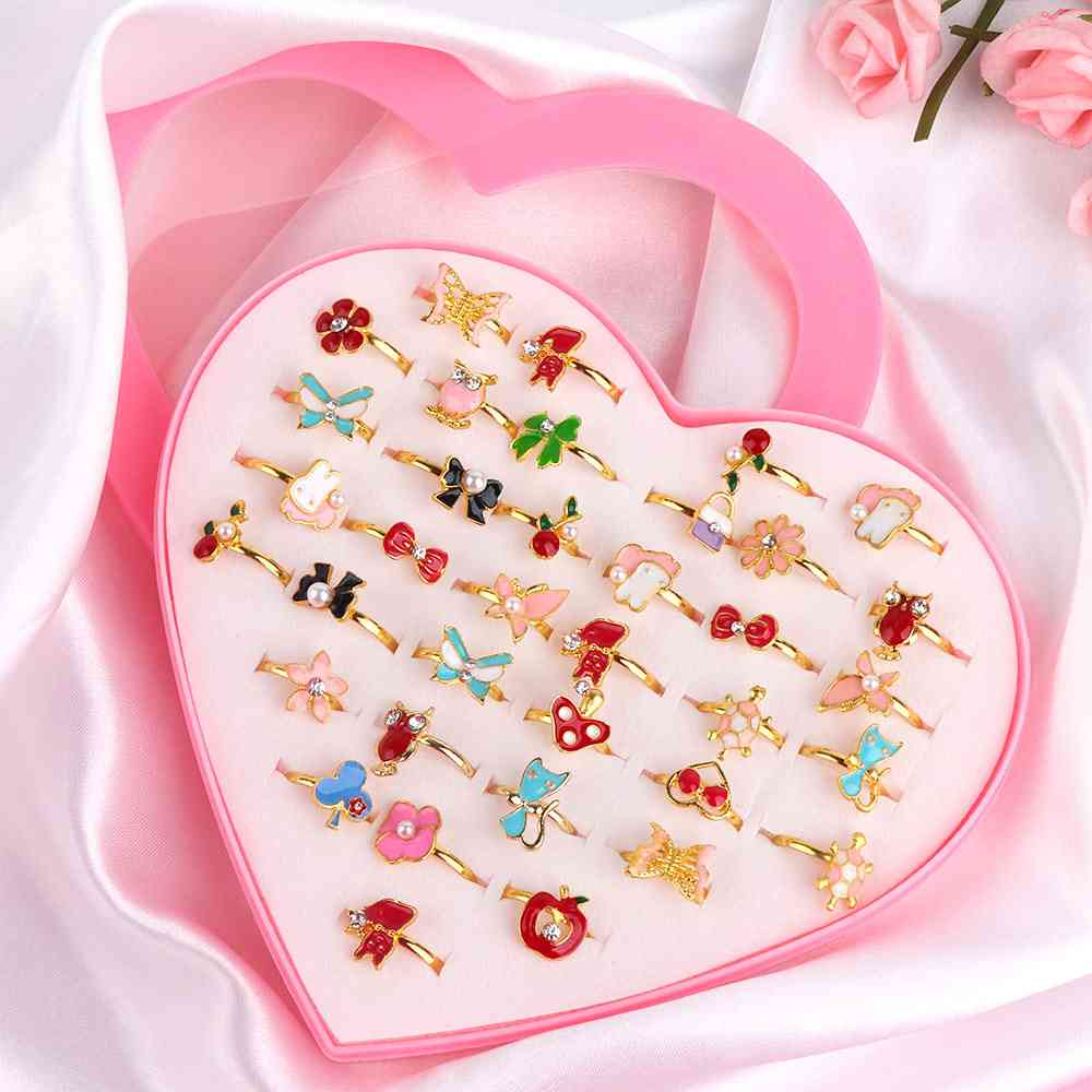 36 Piece/set Cute Love Kids Rings- Sweet Design Flower, Animal Finger Rings For Baby / Fashion Jewelry Accessories