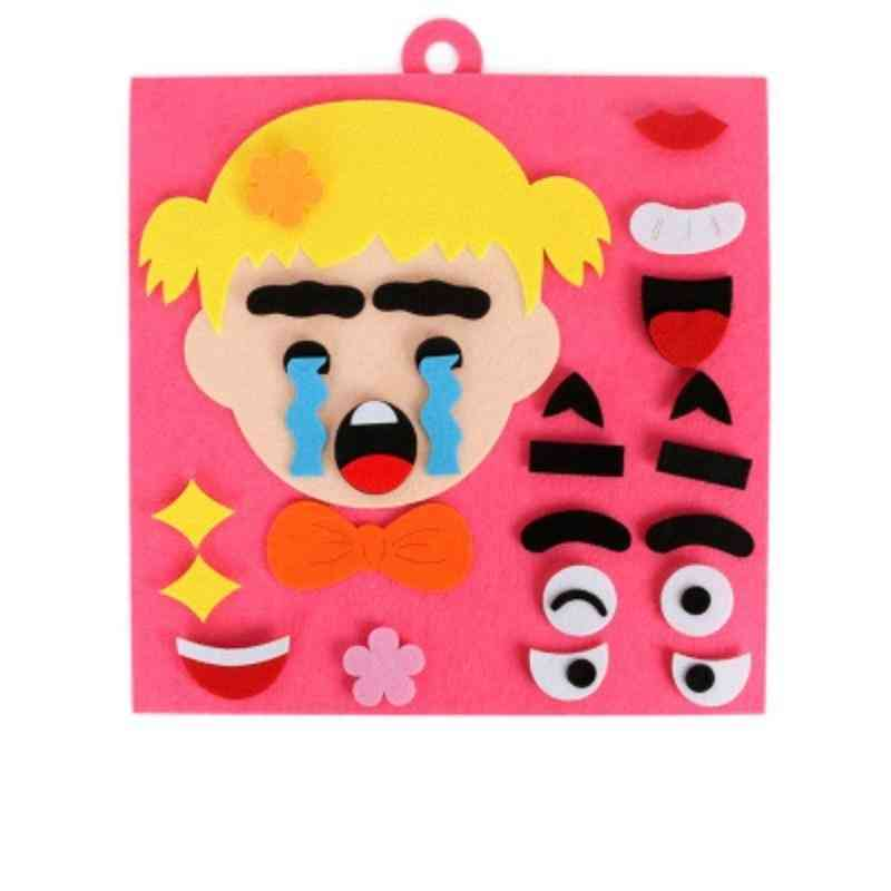 Kids Educational Diy Emotion Facial Expression Change Non-woven Puzzle
