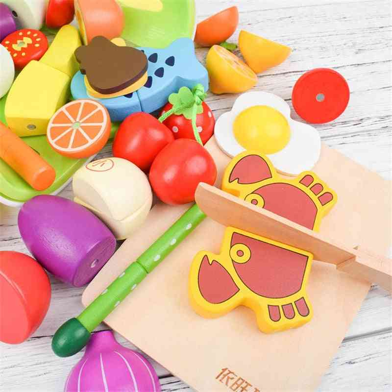 Wooden Food Cutting Toy Set- Magnetic Vegetable And Fruit-pretend To Play