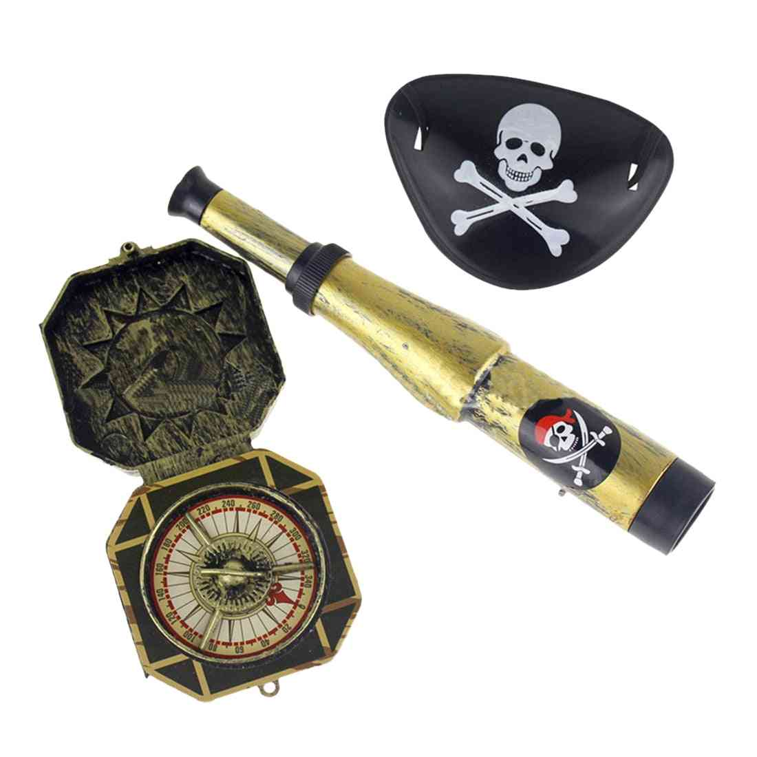 Plastic Pirate-patch With Skull Dress Up Prop Compass Mini-telescope