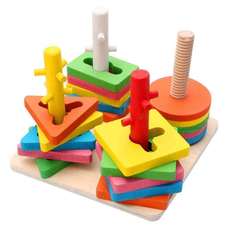 Diy Wooden Building Blocks, Geometric Shape, Pairing Board Model-set