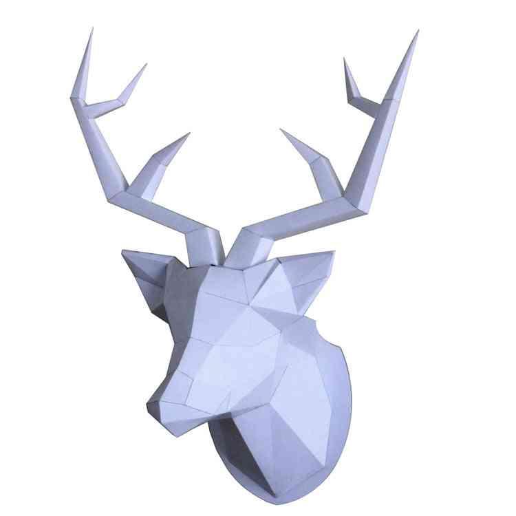 Deer-head Paper-model, Diy Living-room Wall-decoration Animal-modeling