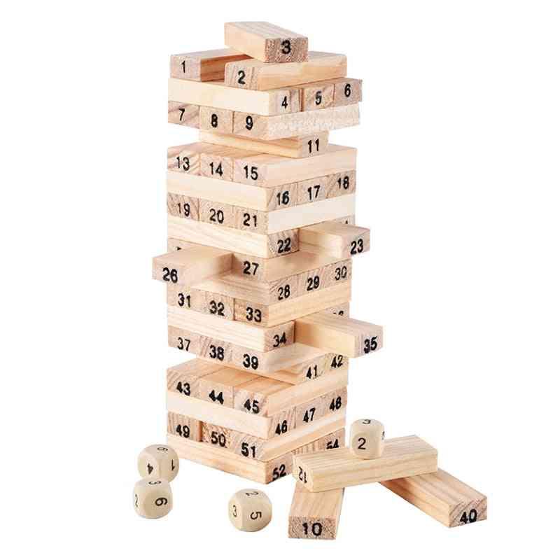 Wooden Stacking-tumbling Tower-blocks Educational Toy, Kids Interaction Game, Wood Digital-jenga Building Blocks (building Block)