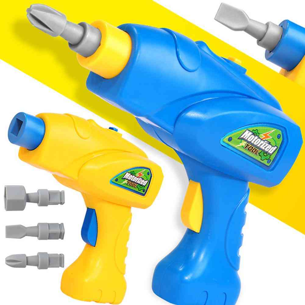 Simulation Rotatable Electric Drill Bits Puzzle Tool Model Pretend Play Kids Toy
