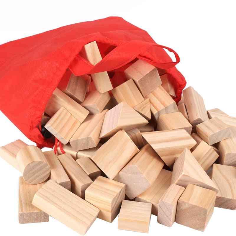 Wooden-blocks Geometric-shape For, Learning-assembling-building & Construction Game For Kids (100pcs)