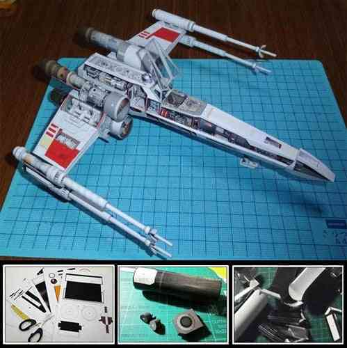 Star Wars X Wing X Fighter Airplane - 3d Paper Model Diy Handmade Toy