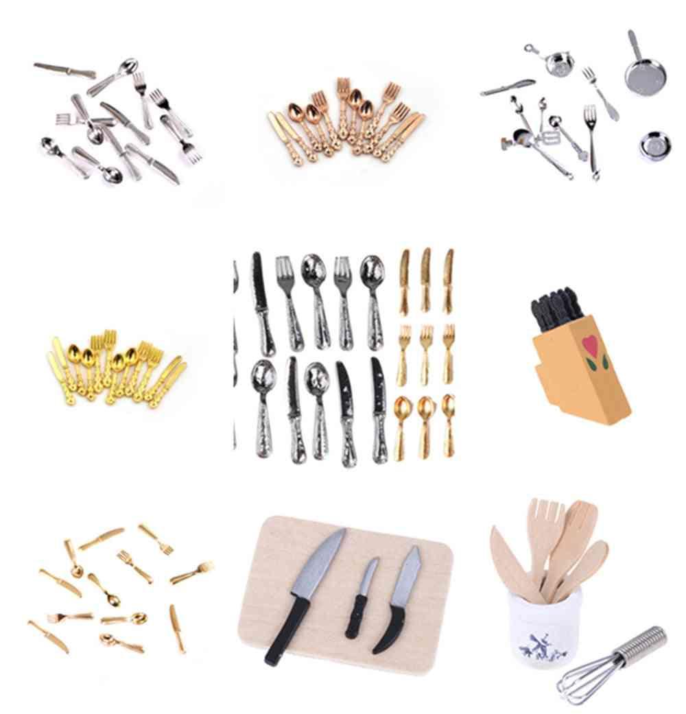 1:12 Mini Dollhouse Miniatures Tableware Cutlery Knife, Fork Spoon, Cake Knife, Chopping Block Kitchen Food Furniture