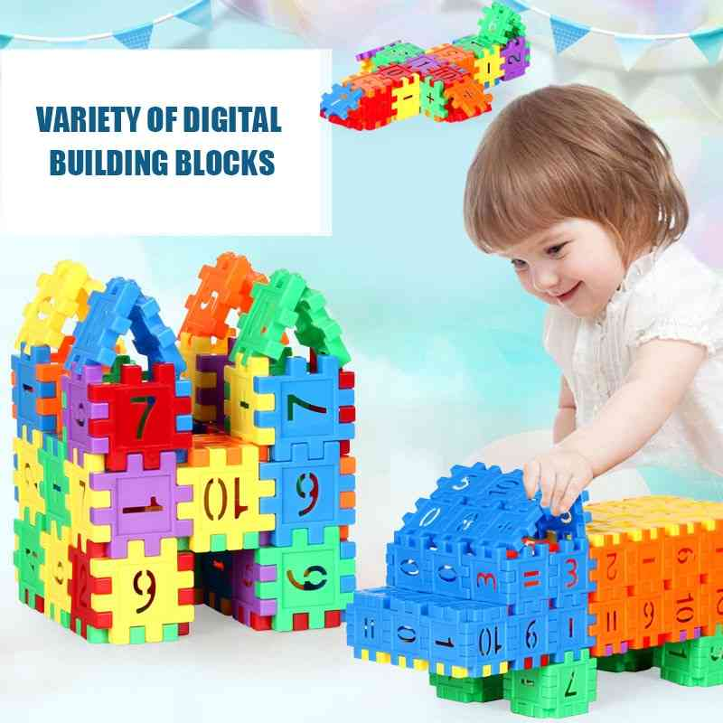 Children Assembling House Building Block, Early Education Puzzle Spelling Digital Cubes