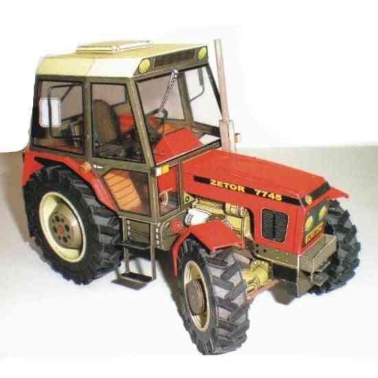 Construction Machinery Zetor 7745 / 7211 Tractor, 3d Paper-model Diy Handmade-papercraft Toy