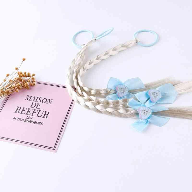 1 Pcs Frozen Elsa Cartoon Wigs Ponytail Hair Headbands Rubber Beauty Fashion (blue)