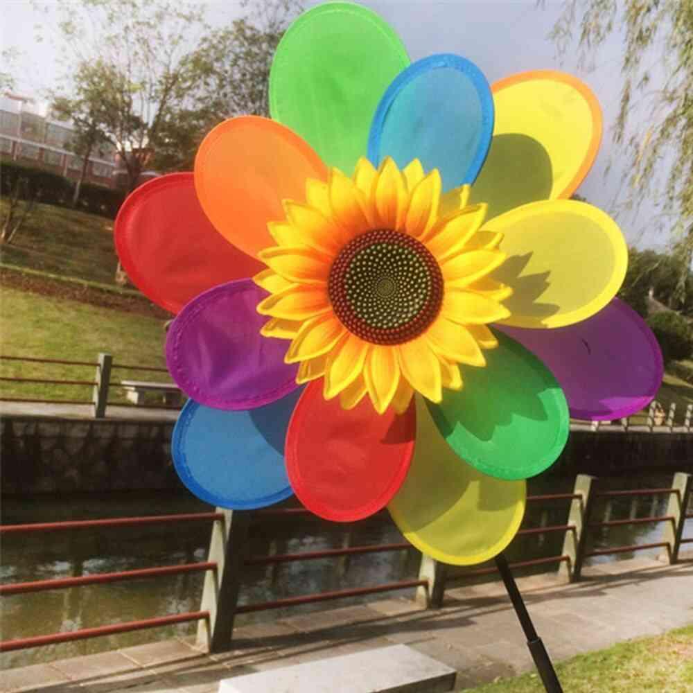 Sunflower Windmill Wind Spinner - Rainbow Whirligig Wheel Decoration For Child Toy