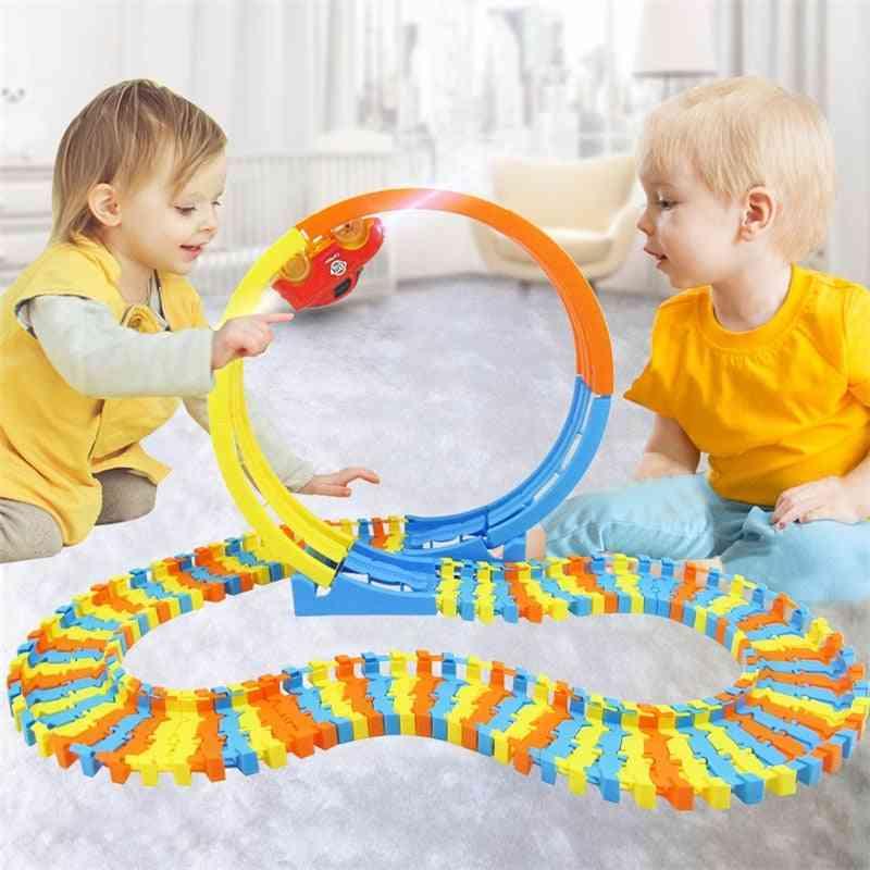 88pcs Track Building-blocks Car Educational-toys Diy Changeable Self-assembled Building Blocks Bricks