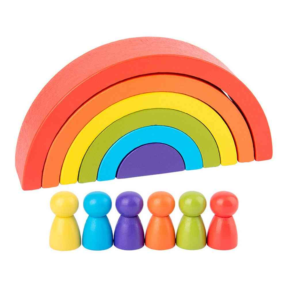 Rainbow-building Blocks Rainbow-stacking-arch Wooden-stacker For Kids