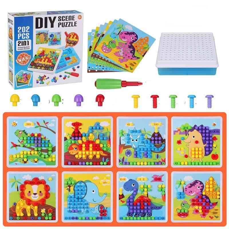 Drill Screw Group Toy - Kit Nut & Mushroom Nail Puzzle Blocks