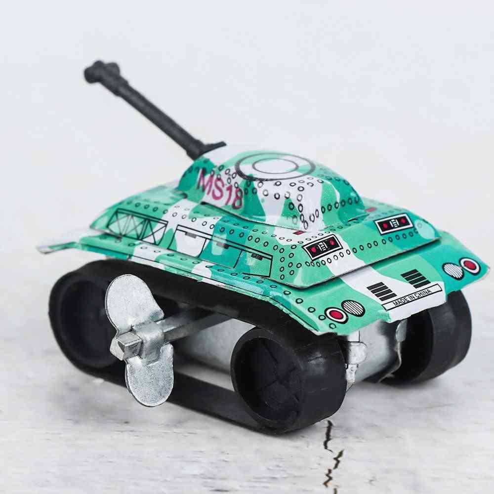 Mini Vintage Tin Metal Friction Tank Design, Childhood Classic Wind Up Clockwork Tin
