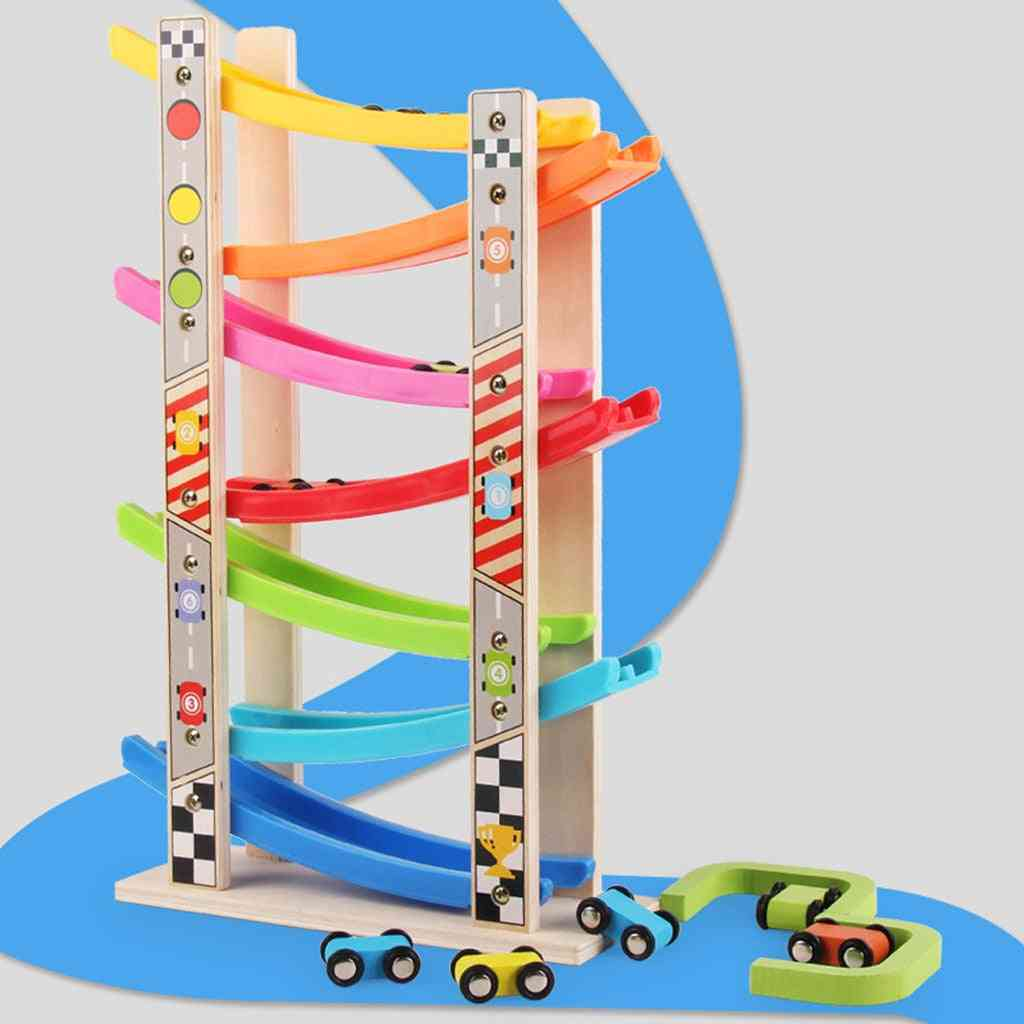 Wooden Layered Ramp Race Track & Mini Inertia Car-sliding Toy