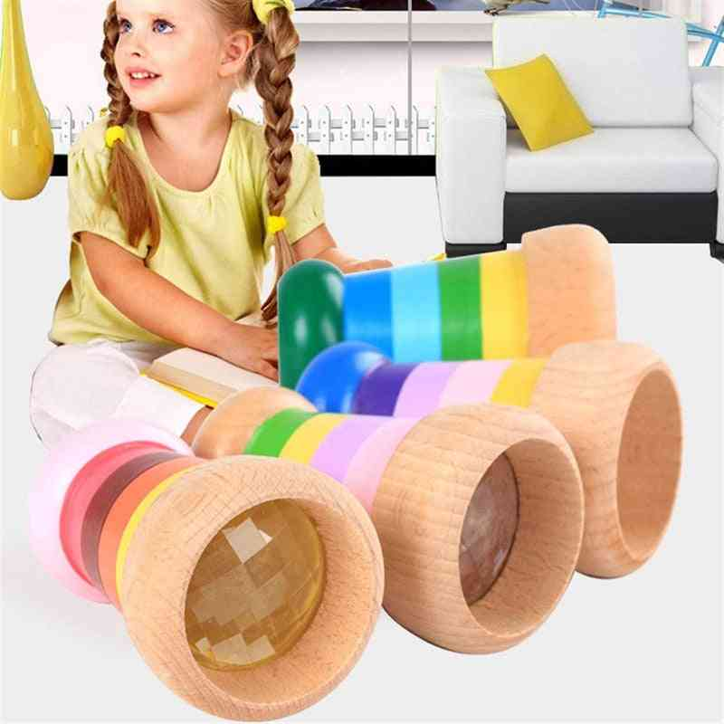 Kaleidoscope Rainbow Wooden - Cute Magical Bee Eye Effect Polygon Prism Toy