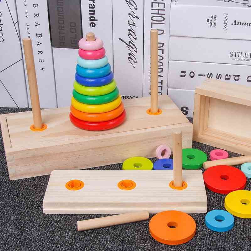 Classic Wooden Puzzle, Stack Tower For Kid -mathematical Early Educational
