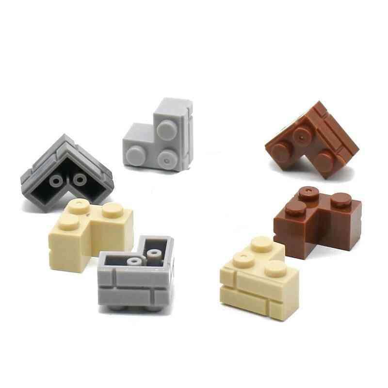 100pcs, 2x2 Dots Corner Wall Bricks Classic Building Block