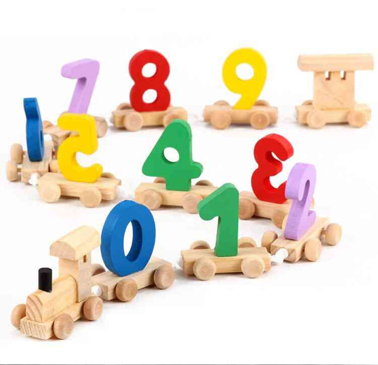 Wooden Digital Splicing Small Train Hands-on Wisdom Early Education Toys