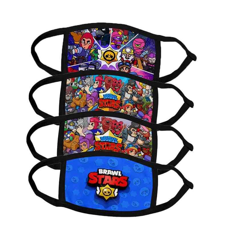 Brawl Stars Game Mouth Face Masks, Cartoon Cotton Dustproof Face Mask Keep Warm Women Men Cosplay Kids