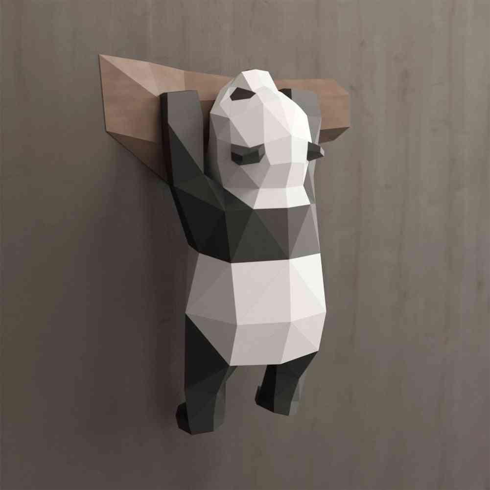 Funny Diy Wall Hanging Handmade 3d Geometric Panda Ornament For Home Decoration