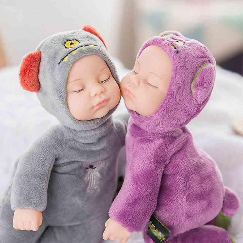 25cm Mini-stuffed Born-doll For Children, Silicone-reborn Alive-babies Lifelike Kids Sleep