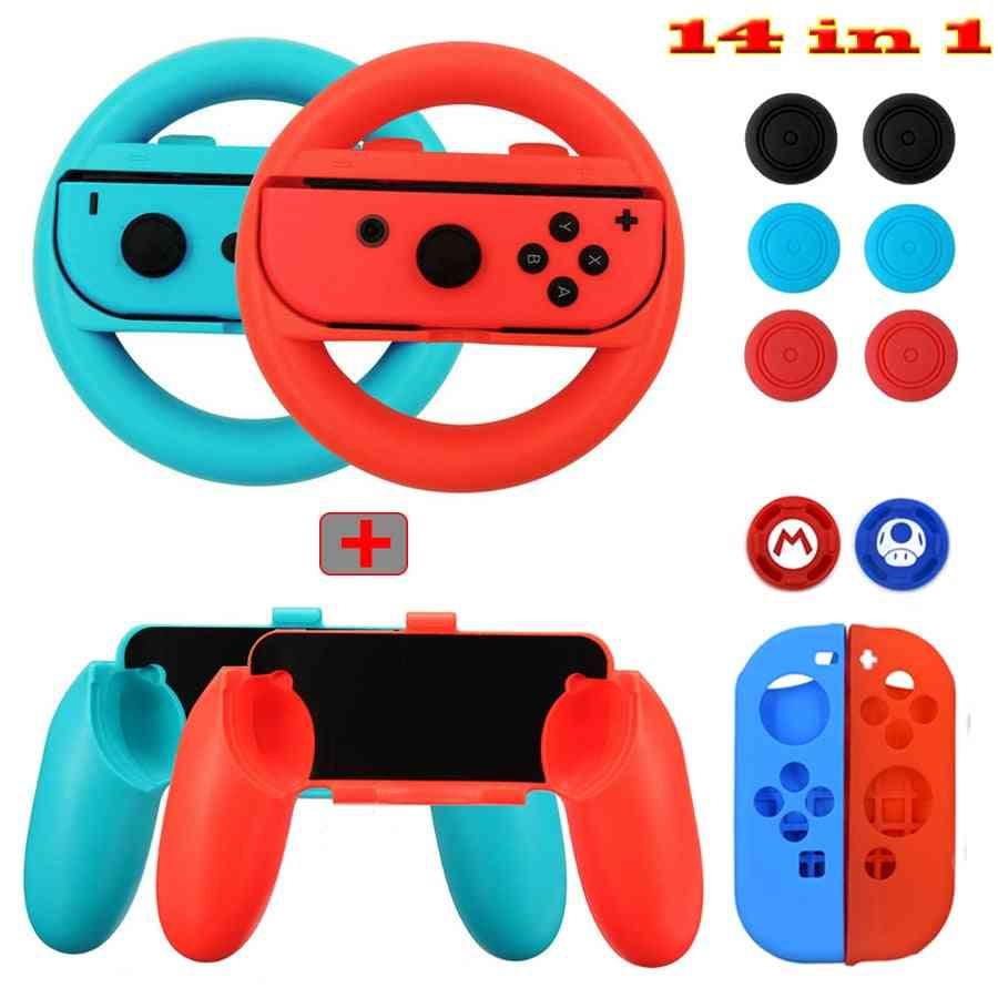 14 In 1 Kit Set Handle Grips Silicone Case, Steer Wheel Analog Caps For Nintendo Switch