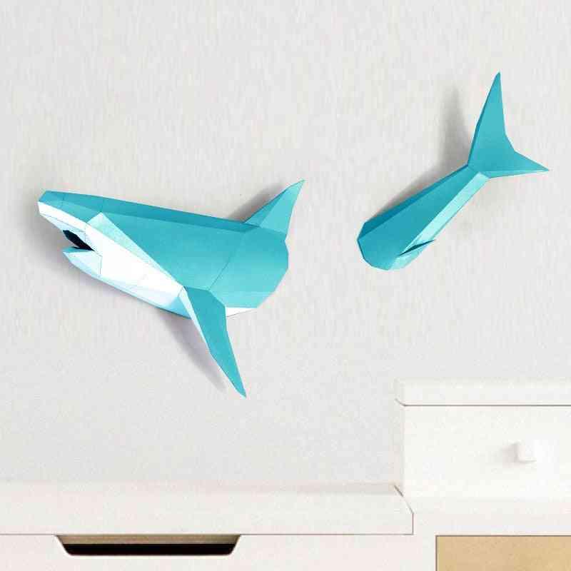 3d Shark Animal Paper Model Toy For Living Room Decoration
