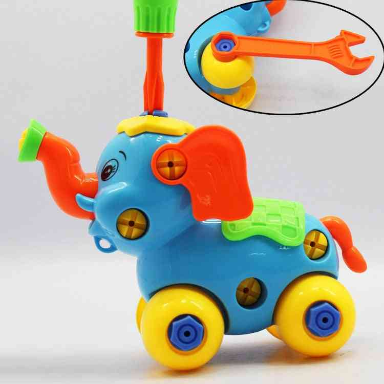 Plastic Train Helicopter Shape, Screwing Disassembly Blocks Toy