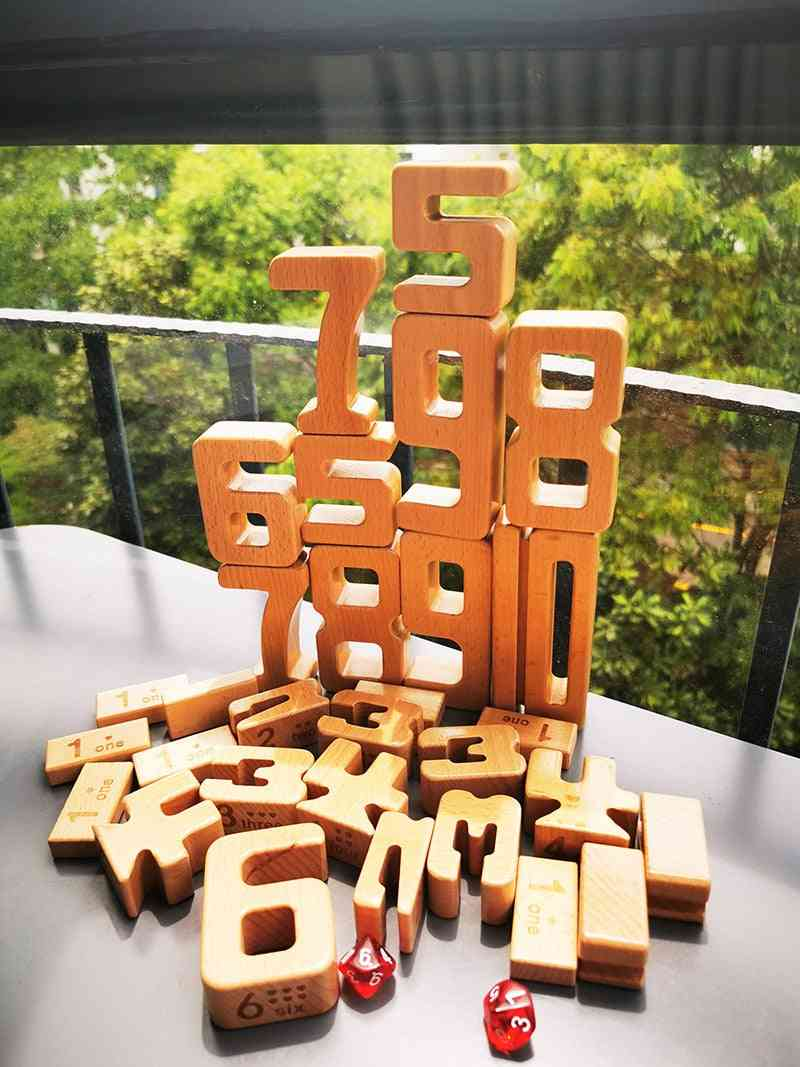 Children Beech Wood Digital Math Blocks For Early Learning