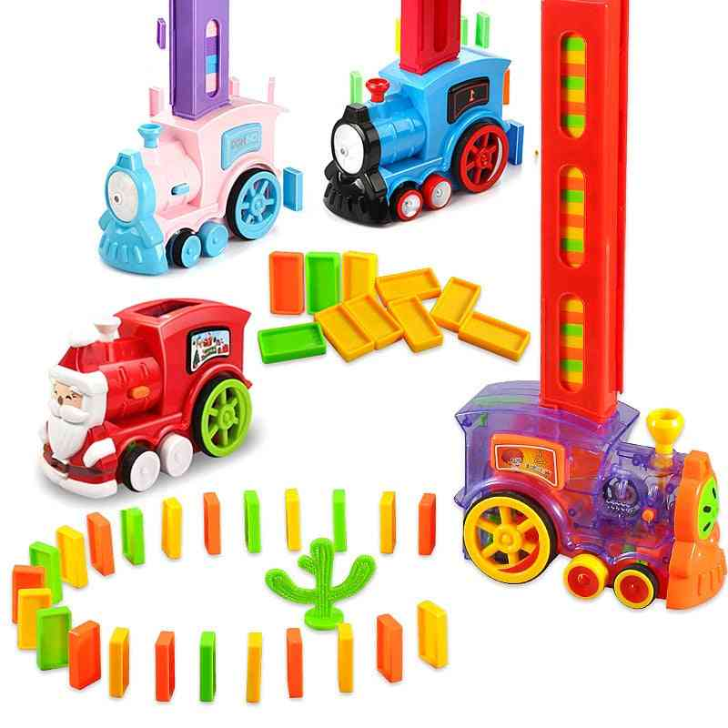 Electric Model Train Domino And Vehicle Educational Blocks Game For