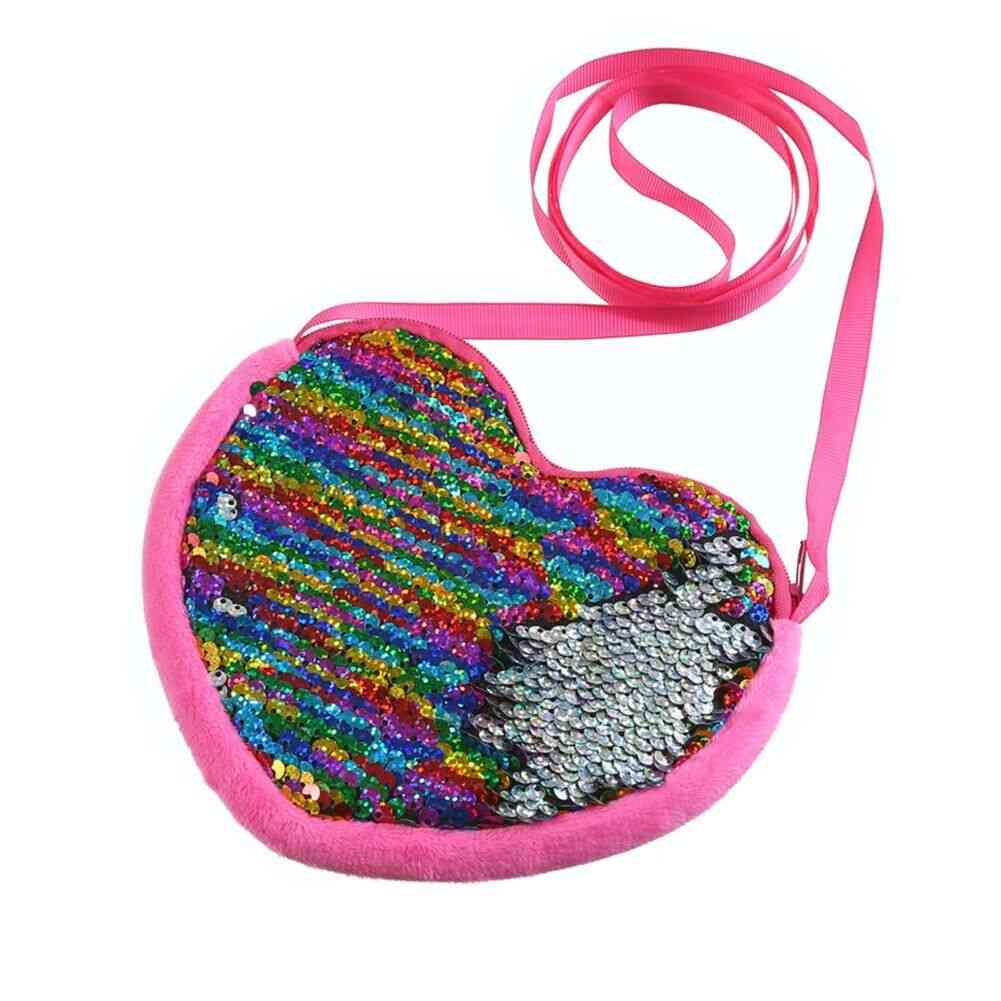 Love & Hearts Sequins Crossbody Coin Purse / Bag For