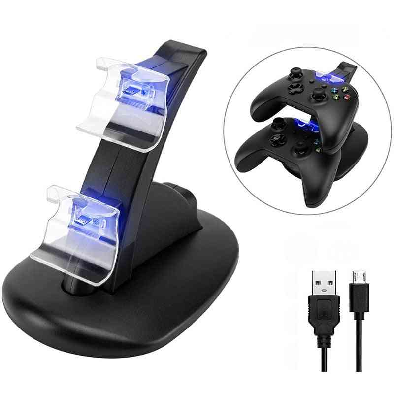 Led Usb Dual Game Controller Charger Dock Station For Xbox