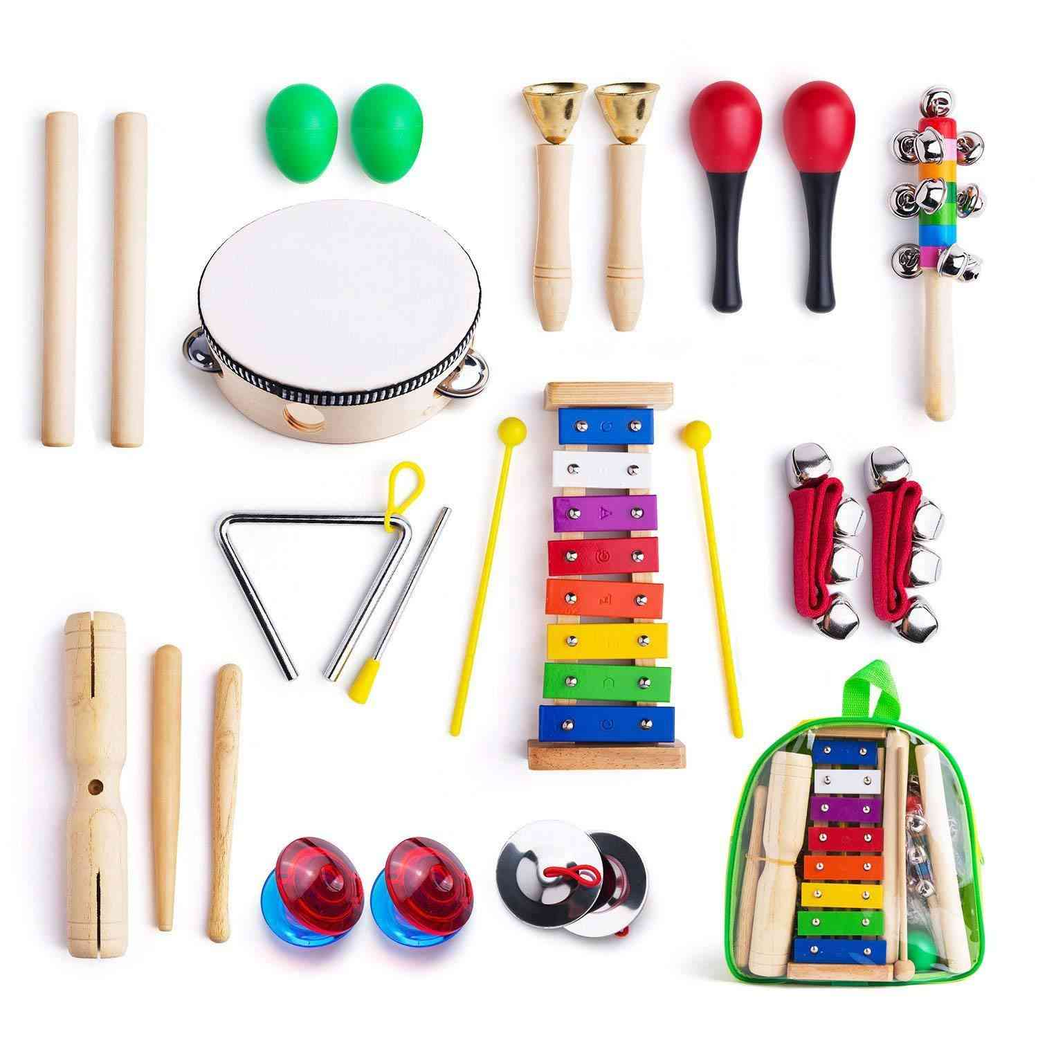 12 In 1 Percussion Toy Set-wooden Musical Instruments For Toddler With Carrying Bag