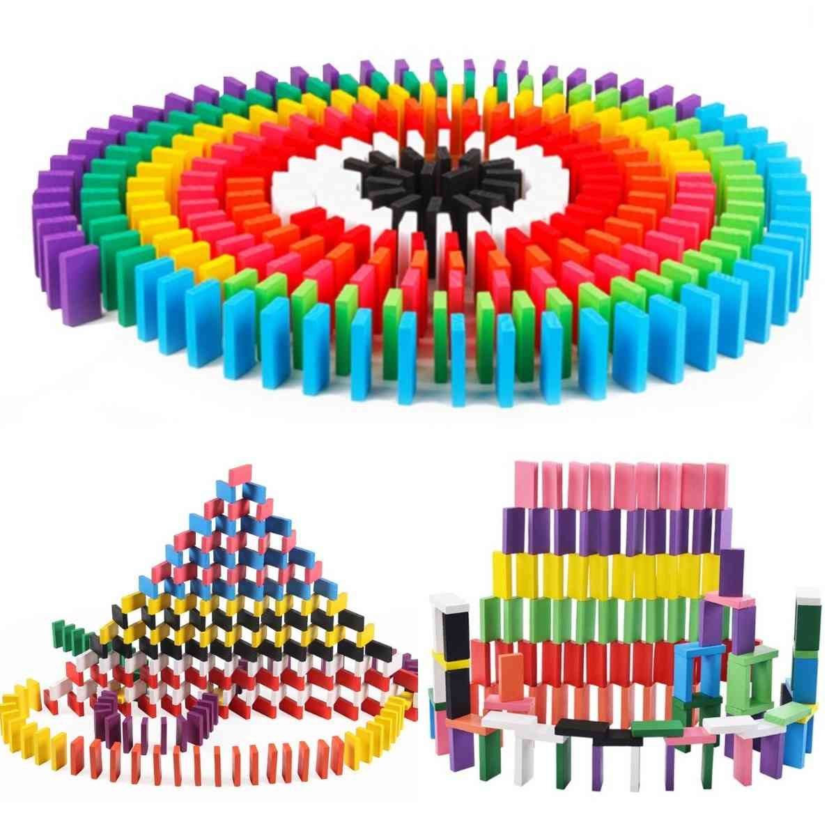 Colourful Domino Blocks Jigsaw Wooden For Montessori Early Learning