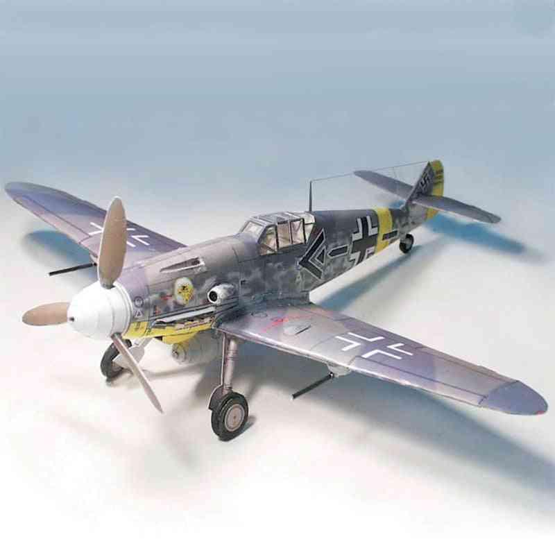 German Fighter Messerschmitt Bf-109, Diy 3d Paper Card Model Building Sets