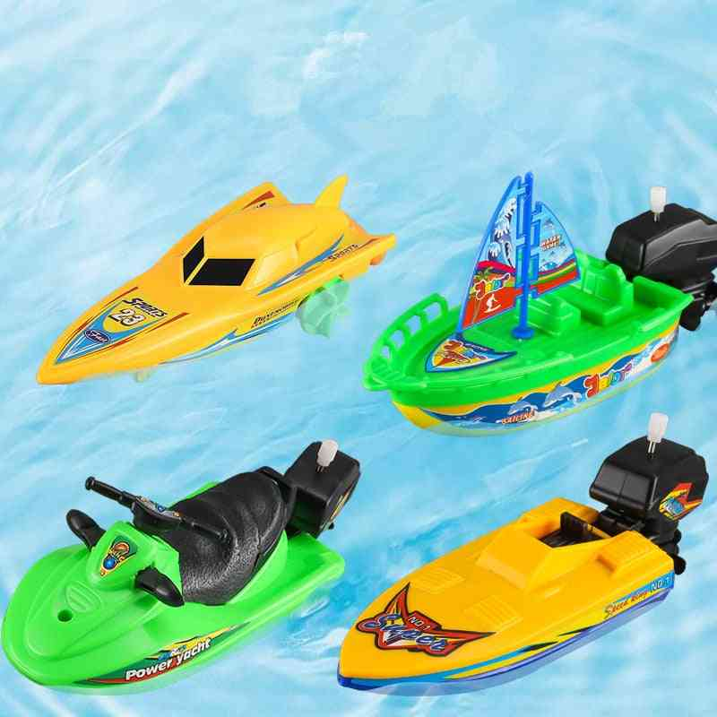 1pc Speed Boat Ship Wind Up Toy- Float In Water Kids, Classic Clockwork, Summer Shower Bath For