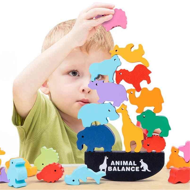 Wooden Animal Balance Blocks-montessori Games