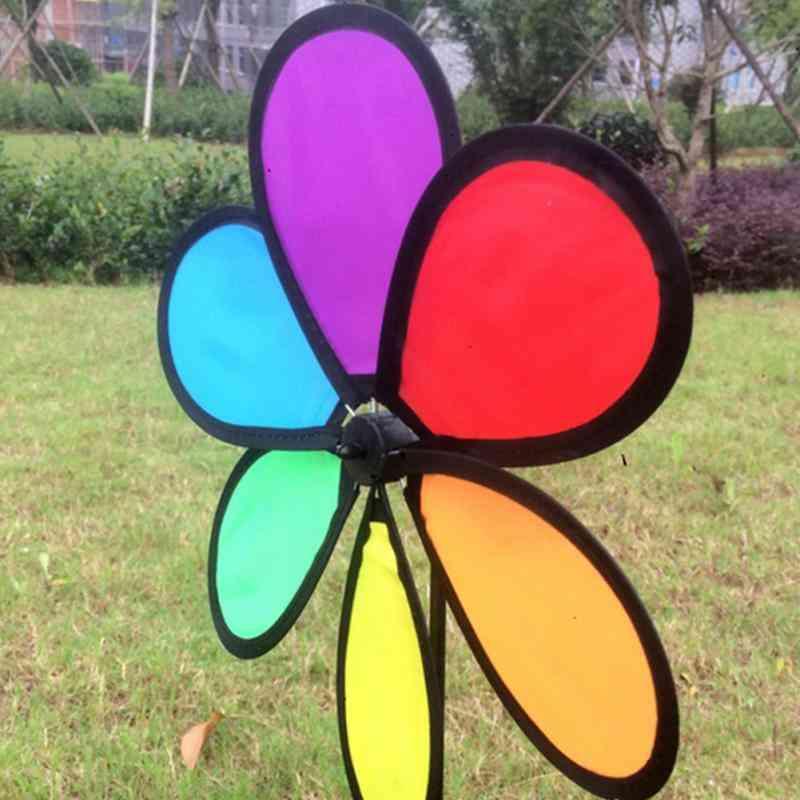 Rainbow Dazy Flower Spinner Wind Windmill For Garden And Yard Decor