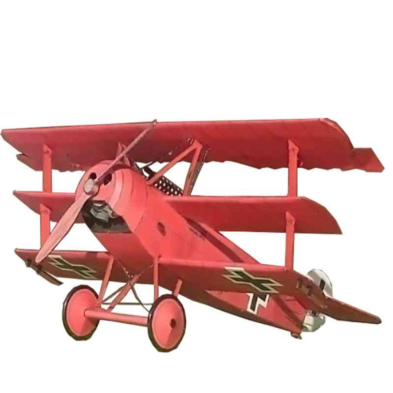 Fokker Three Wing Fighter Aircraft - Diy 3d Paper Card Model Building Sets Construction